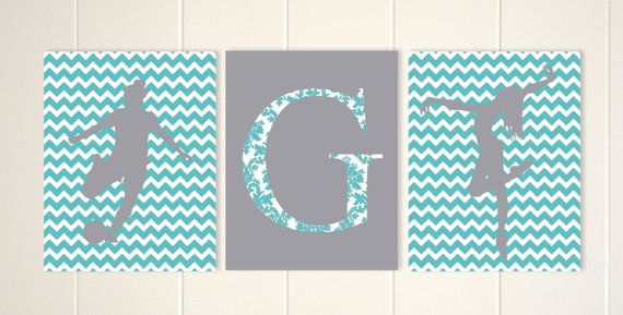 Pre teen gift, soccer room decor, soccer girl wall art, dance wall art, dancer, chevron girls room decor, personalized gift, set of 3 by PicabooArtStudio