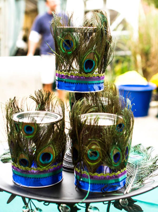 A Peacock Themed, Homespun Wedding: Wendy & Jesse - love these tealight holders!