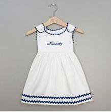 Easter dress for toddler or baby from Carolina Clover. White Monogrammed Toddler Dress - Navy Trim