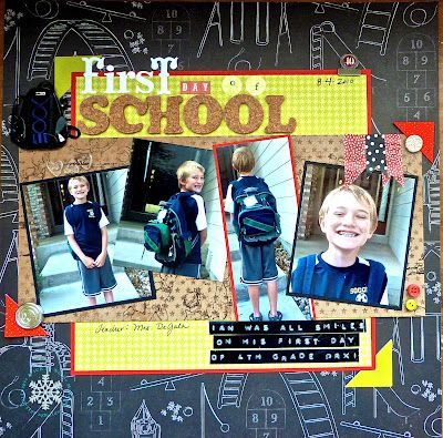paper & ICE: First Day of School scrapbook layout by Noelle McAdams