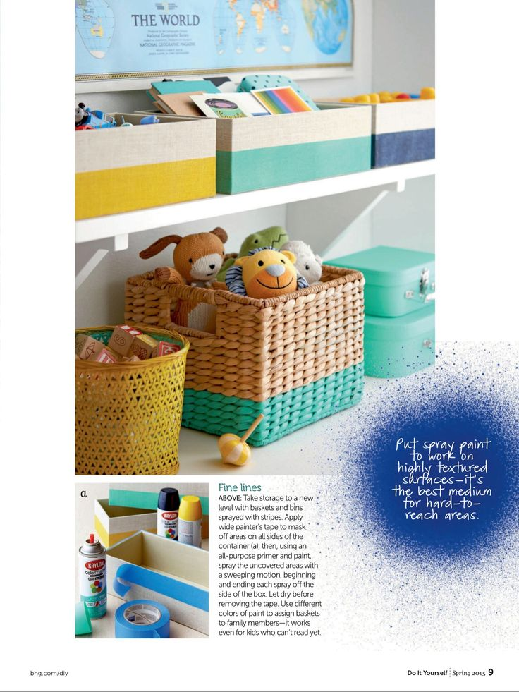 gorgeous spray painted baskets