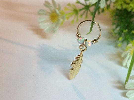 Feather cartilage earring tiny hoop earring by FlowerRainbowNJ