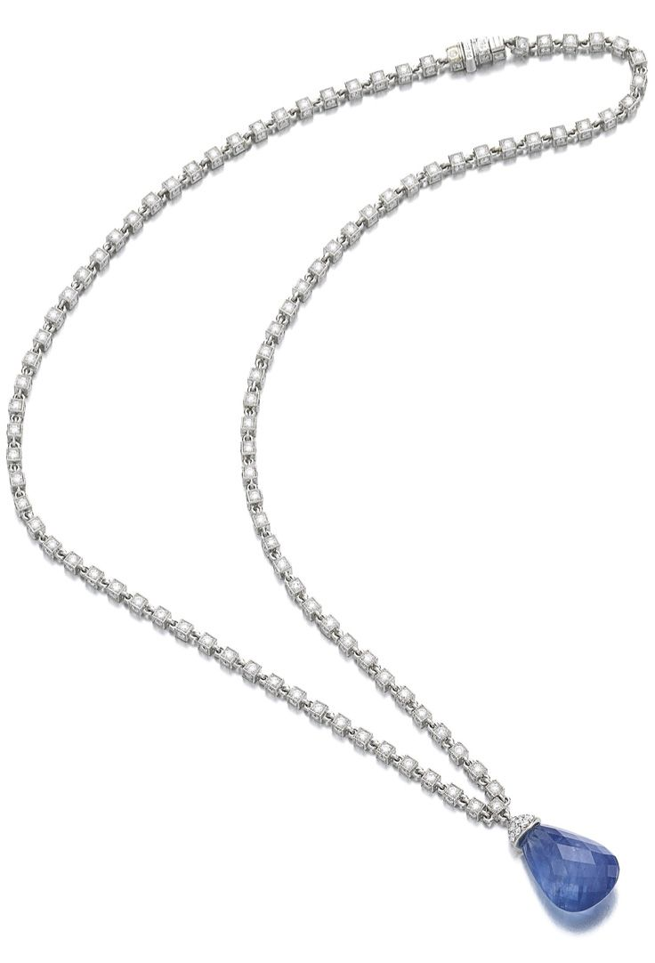 Sapphire and diamond necklace. The briolette sapphire suspended on a box chain millegrain-set on four sides with brilliant-cut diamonds, length approximately 405mm, mark for Jacques Timey.