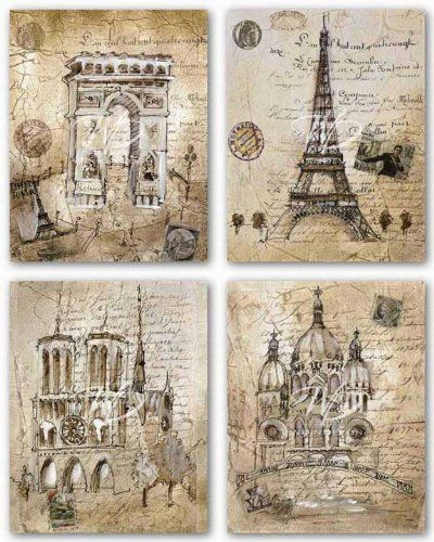 "Paris Sites Set by Liz Jardine 11""x14"" Art Print Poster Winn Devon http://www.amazon.com/dp/B001MKL2NG/ref=cm_sw_r_pi_dp_kEErub0FVHVXD"