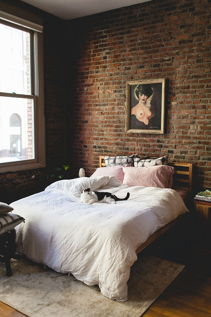 best 20 brick wall bedroom ideas on pinterest. Black Bedroom Furniture Sets. Home Design Ideas
