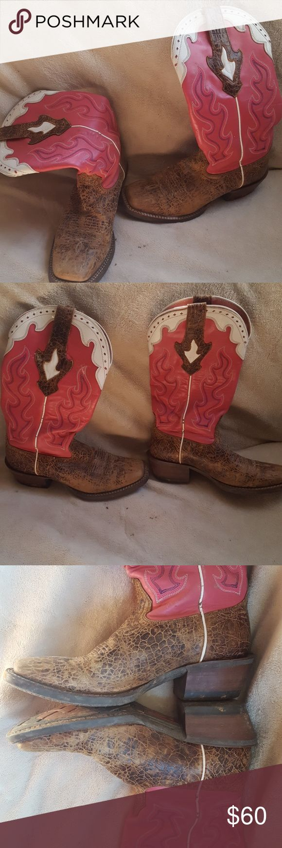 Ariat Cowboy Boots Pink purple and white Ariat brand western or cowboy boots  Rubber bottoms  Square toe  Size 6.5  I wear a 7 and these fit me. I believe with boots you go a size smaller.   Made in Mexico Used as work boots so has some wear Ariat Shoes Heeled Boots