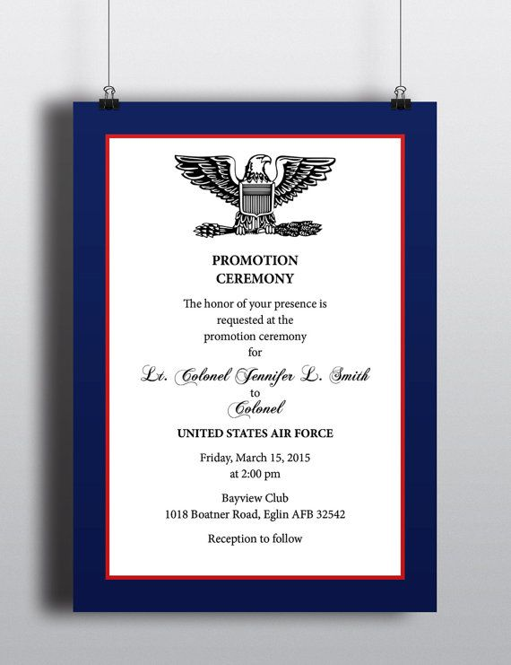 43 best invitations and nametags images on pinterest invitation military style promotion recognition elegant professional patriotic invitation stopboris Images