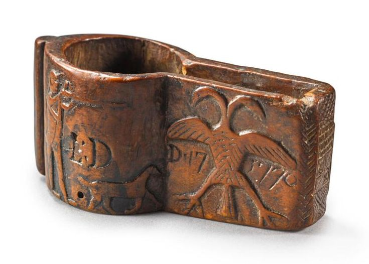 RARE RELIEF-CARVED BURLWOOD PATCH BOX, PROBABLY PENNSYLVANIA, DECEMBER 17, 1770 |