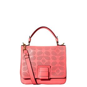 Sixties Stem Punched Leather Ivy Bag Pink