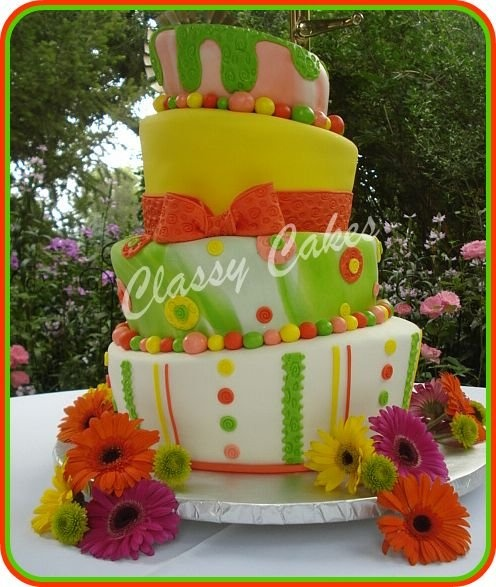 Modern Round Wedding Cake-Topsy turvy design and multicolored