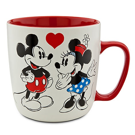 Disney Store original Mickey and Minnie Mouse Mug sweethearts red and white coffee mug. Love the red interior and handle!