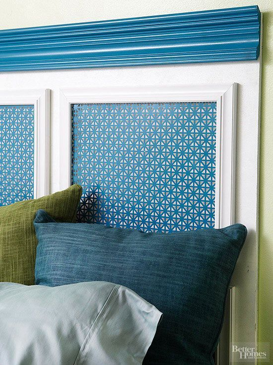 this headboard started as a simple piece of plywood. Picture frames, decorative molding, metal sheeting, and paint .To re-create the look, cut a piece of plywood to desired size. Paint the plywood and picture frames