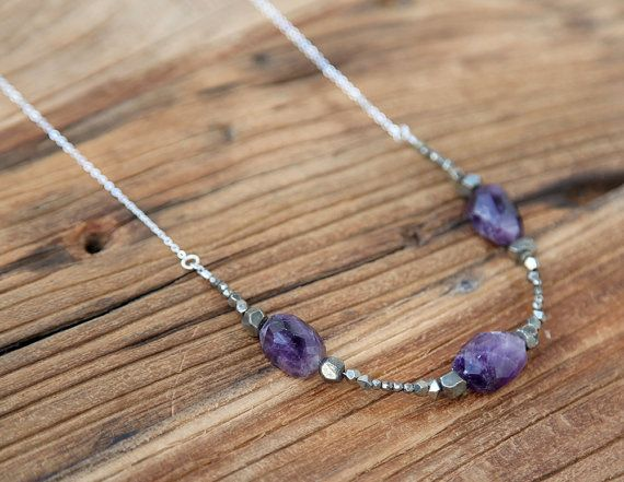 Amethyst and pyrite rustic Bohemian necklace by Rosehip Jewelry