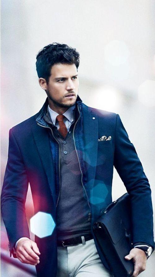 Men's Navy Blazer, Red Tie, Blue Gingham Dress Shirt, Charcoal V-neck Sweater, White Dress Pants, Black Leather Belt, Black Briefcase