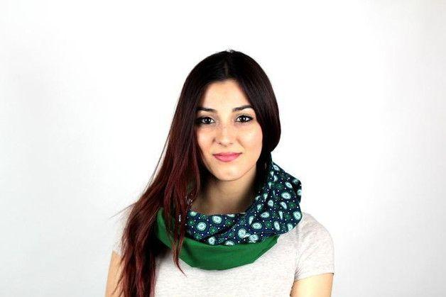 gemustert - Loop-Schal Ethno Grün Blau Jersey Schlauchschal - ein Designerstück von Knitters bei DaWanda