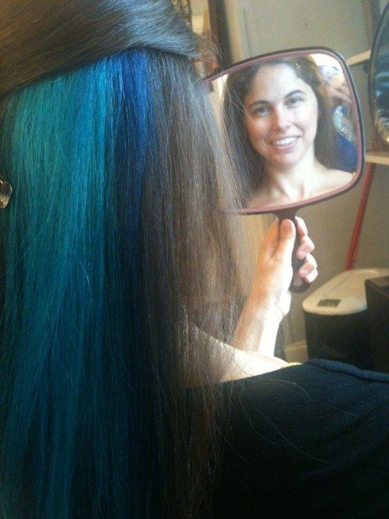 blue peekaboo highlights- So it is decided. When I get my hair done again, I am going dark brown with purple peekaboo highlights lol It is gonna happen.