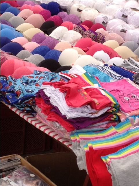 The bra-seller's table at Kalkan market - so colourful!