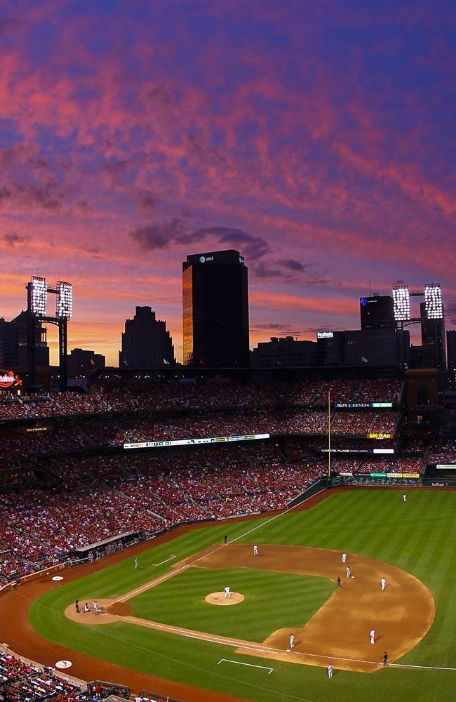 What a fantastic pic of The sunset over Busch Stadium during a game between the St. Louis Cardinals and the Arizona Diamondbacks.  6-06-13