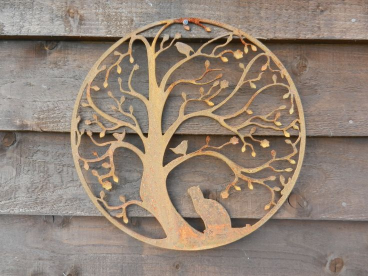 Cat And Bird In Tree Wall Hanging Art / Rusty Metal Art / Garden Decoration  /