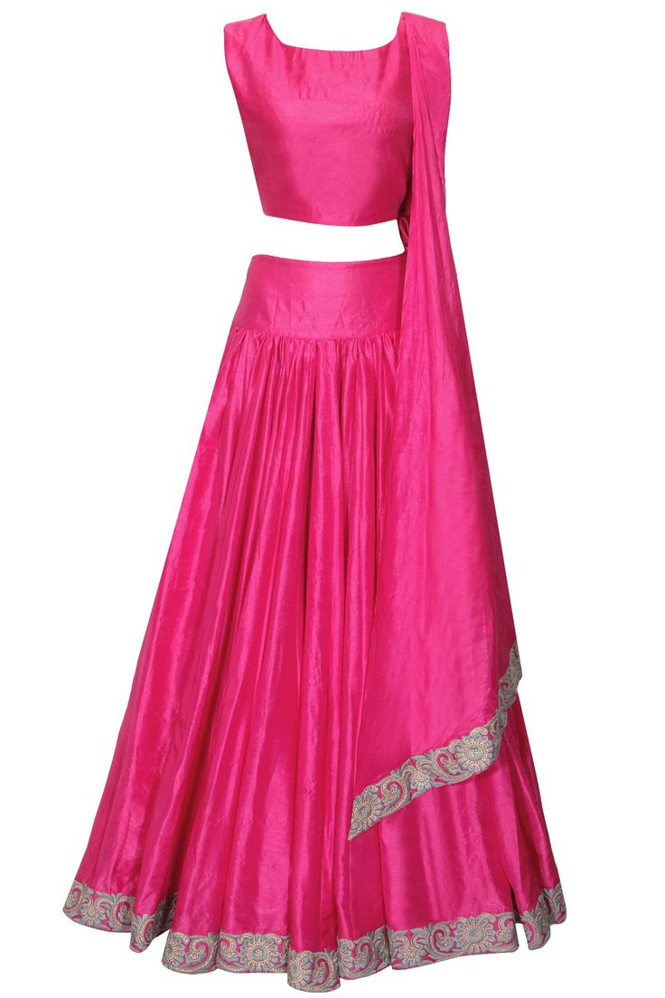 Neon pink embroidered crop top and skirt set by Surendri. Indian fashion.
