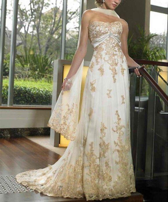 Elegant Gold Wedding Dress, Gold Wedding Dresses 7