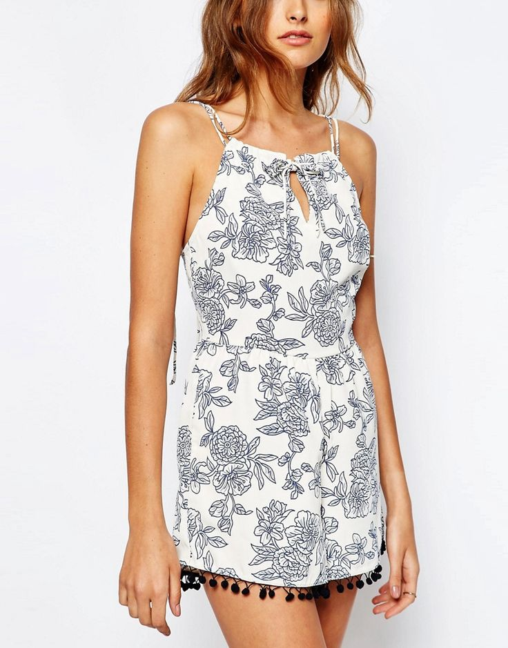 Image 3 ofASOS TALL Playsuit in Floral Print with Pom Pom Trim