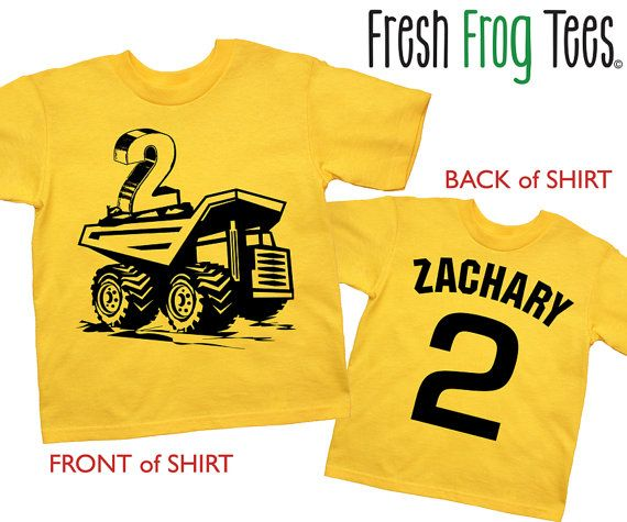 2nd Birthday construction personalized dump truck Happy boys Second Party Yellow Short Sleeve tshirt
