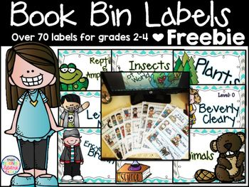 "Have everyone ""oooing and ahhing"" over your amazingly organized library!    I have created book bin labels for Fountas and Pinnell levels F-S and many series books that you would find in a second-fourth grade classroom. To protect the integrity of the artist's graphics, this file can not be edited."