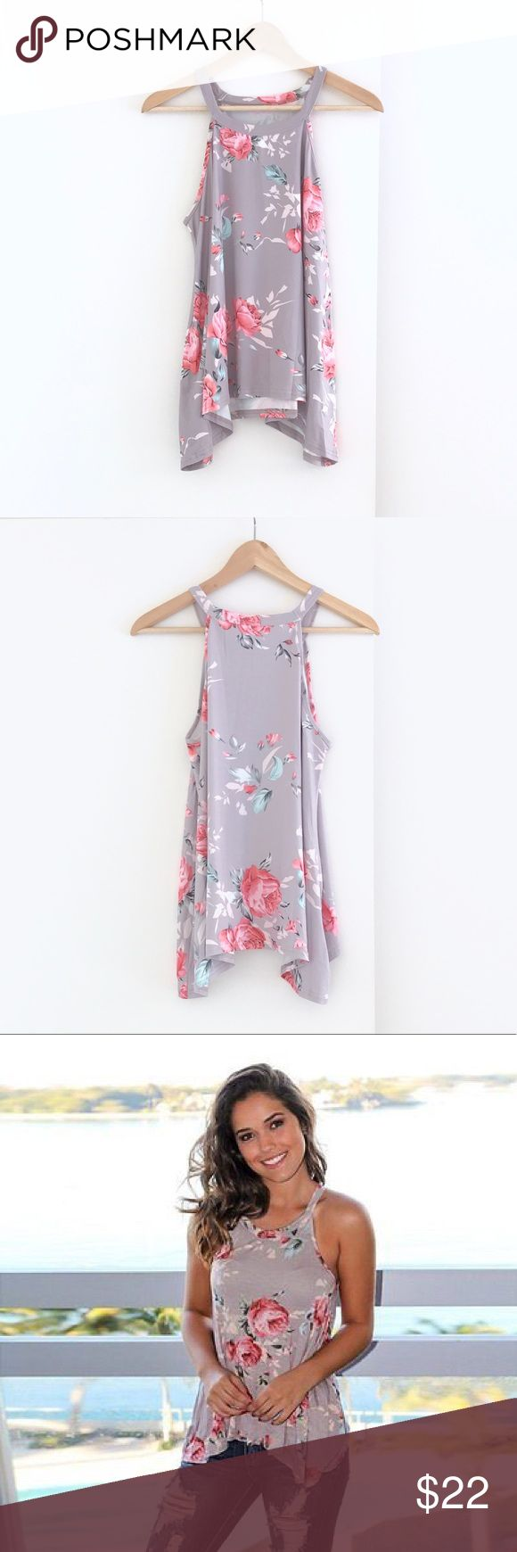 """🆕 Floral Tank Top This beautiful flowy floral tank top is made of a super soft milk fiber material. Measurements: Bust- 33"""", Length- 22.5"""" from shoulder right next to neck down to bottom of tank top & 24"""" down to the longer outer edges.  Slightly sheer so best worn with a nude color bandeau or bra.  NWOT Tops Tank Tops"""