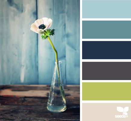 flora hues: A wonderful dose of blue-grays and a touch of celery green. Tranquil. I like it!!