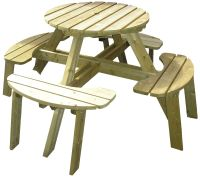 wooden picnic table round outdoor table perfect for picnics or evening meals could