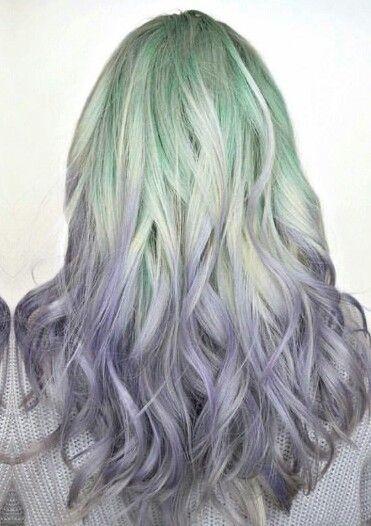 Green purple pastel dyed hair @hugosalon