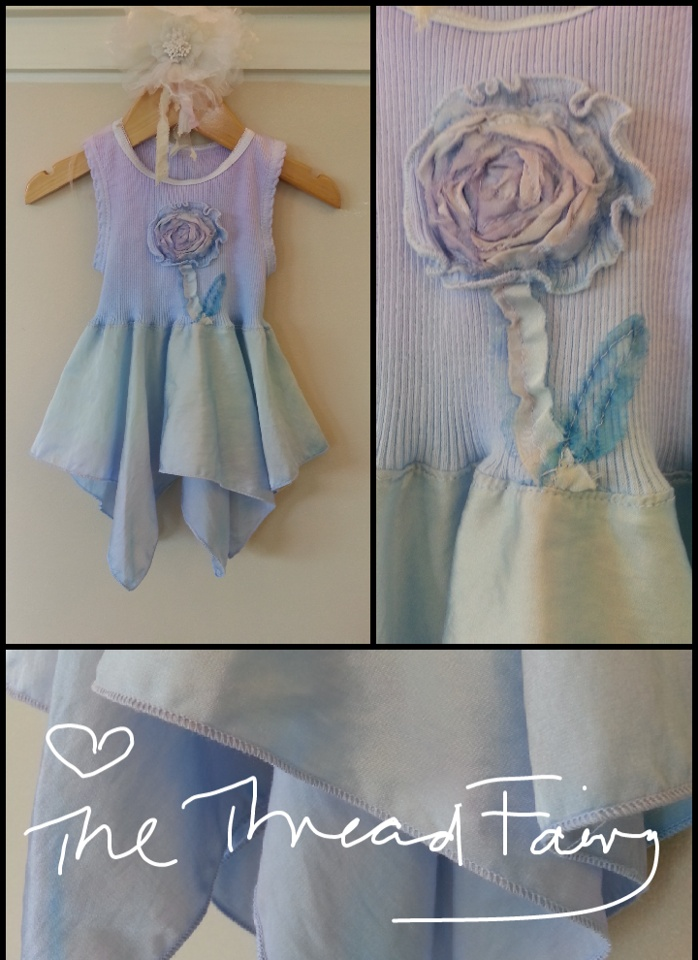 One-of-a-kind Flutterby dress (cotton and 1 layer of shimmering silk for flutter) lovingly handmade and for your wee little one. Size 0 - $30 plus postage. ♥ The Thread Fairy x