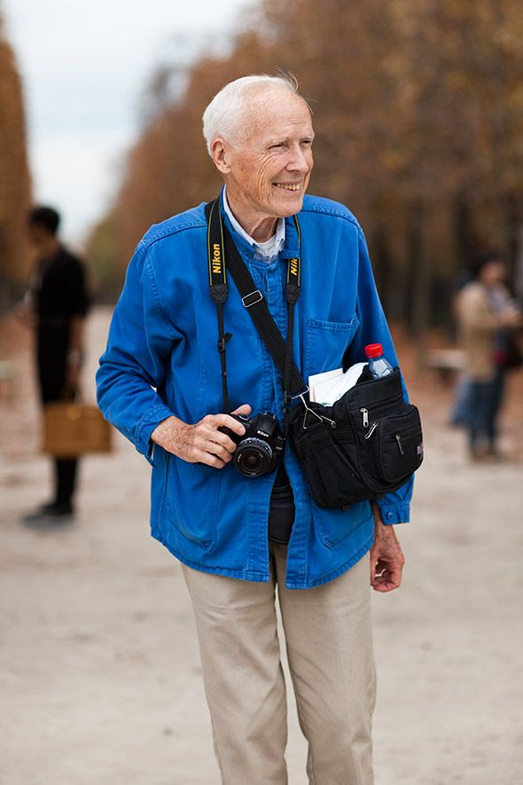 Bill Cunningham.  The documentary on him is really interesting. He's pretty mysterious, but seems like a really sweet man. Charismatic, smiling, and truly modest.