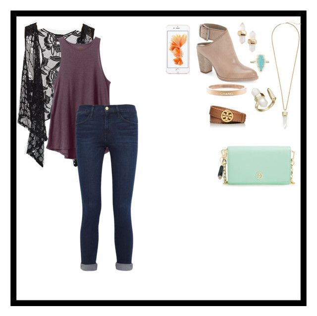 Stephanie Tanner Inspired  Fuller House by allik02 on Polyvore featuring polyvore, fashion, style, RVCA, Daytrip, Frame Denim, Dolce Vita, Tory Burch, Kendra Scott, Chanel and clothing