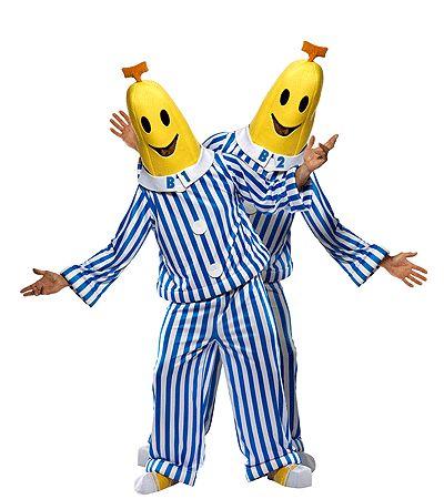 Banaan in pyjama kostuum voor volwassenen. Dit Bananen in pyjama kostuum bestaat uit een broek, een shirt een hoofdkap en overschoenen. Dit bananen in pyjamas pak is alleen leverbaar in maar M/L. Het is 1 pak.