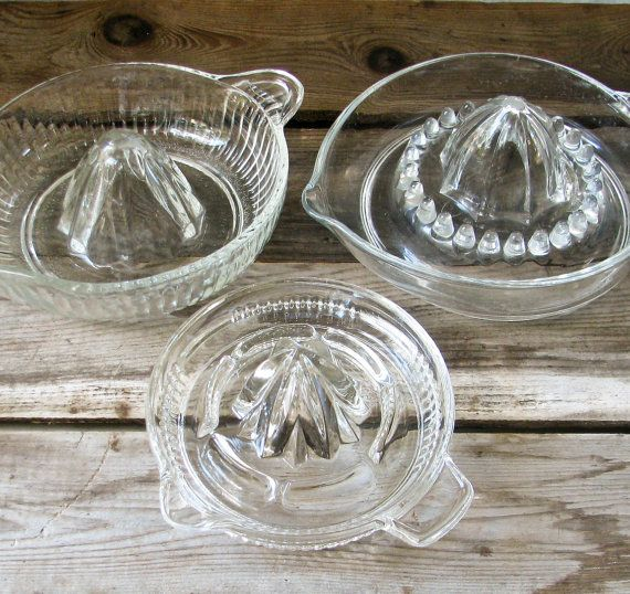 """Vintage Glass Juicers ~Mom """"made"""" our orange juice w/these. No store bought and just took a moment, was delicious and a small glass was all you needed to get your vit C for the day"""