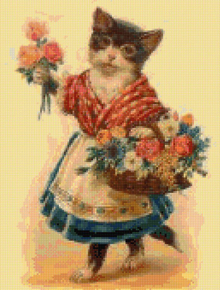 11 besten Vintage Cats Cross Stitch patterns Bilder auf Pinterest