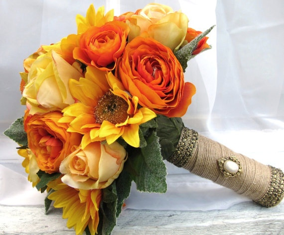 Silk Bridal Bouquet in Yellows and Oranges with by blueeyesbridal