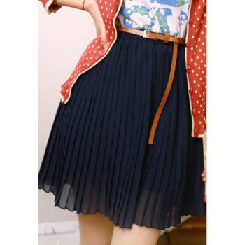 Women's Preppy Style Elastic Waist Pure Color Pleated #Skirt With Belt