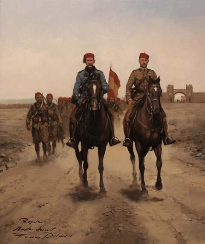 Regulares en el Monte Arruit, obra de Augusto Ferrer-Dalmau