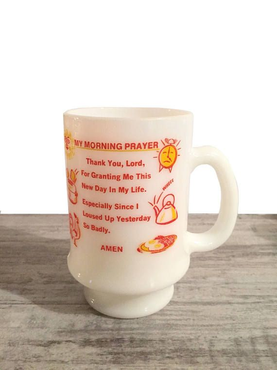Vintage My Morning Prayer Mug White Milk Glass Mug Tall Coffee Cup #Mug #milkGlass #mymorningmorning #breakfast #coffeemug