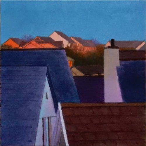 New houses at dawn, St Columb painting by Tom Henderson Smith approx 50 x 50 cm. Open acrylic on stretched canvas