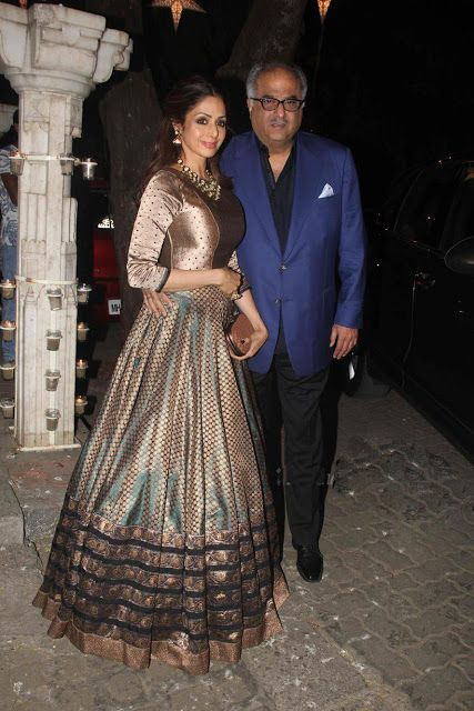 Sridevi Elegant Appearance in Double Shaded Banaras Silk Lehenga