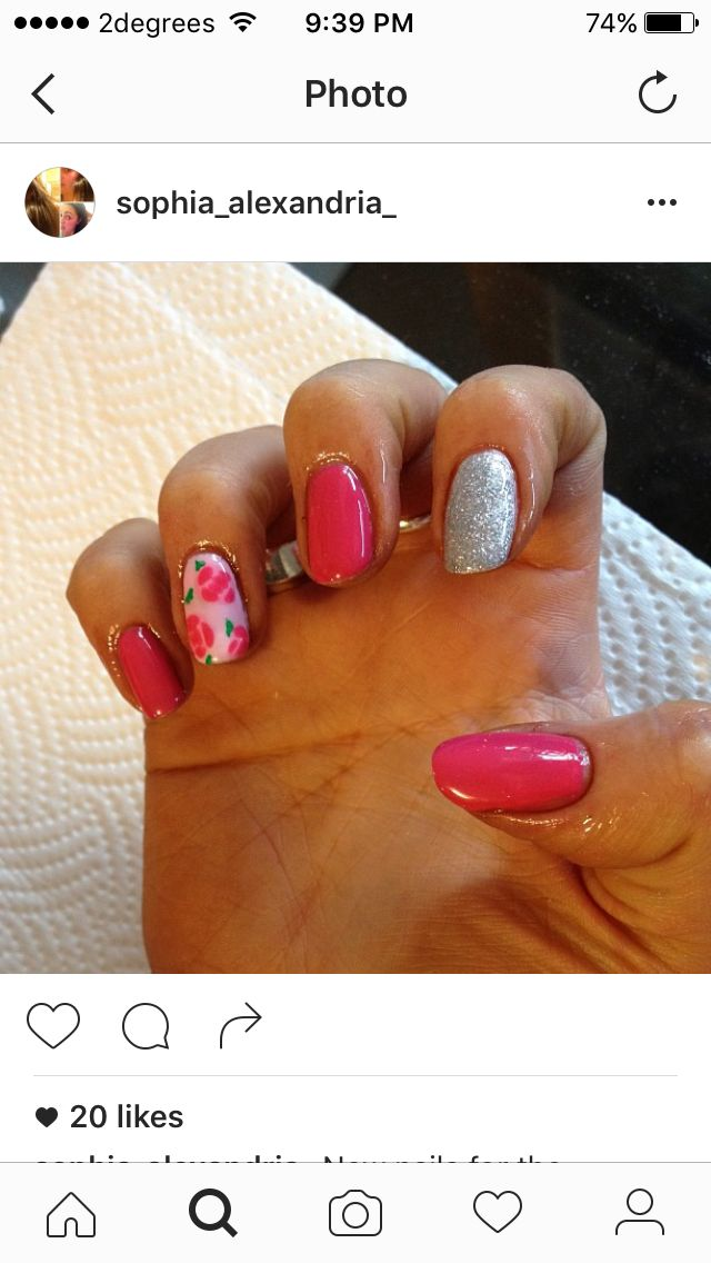 Gelish pink floral and silver gel nails