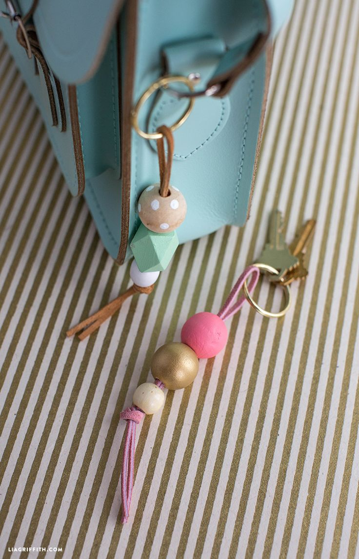 DIY Painted Wood Beads Key Chain from MichaelsMakers Lia Griffith