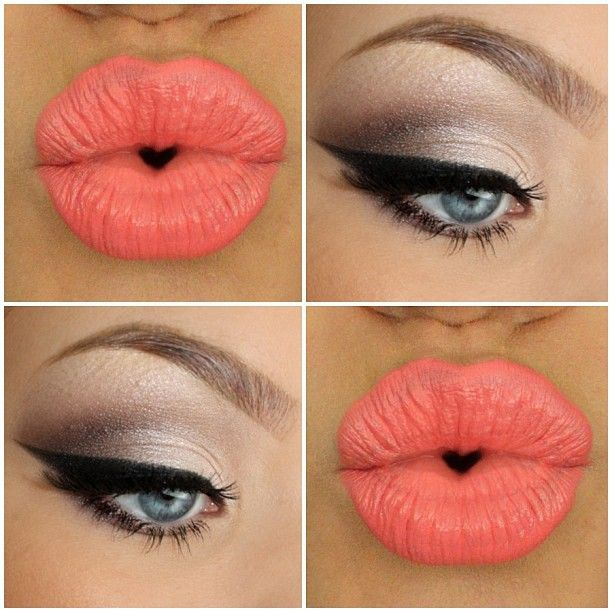 Love the coral lip and cat eye