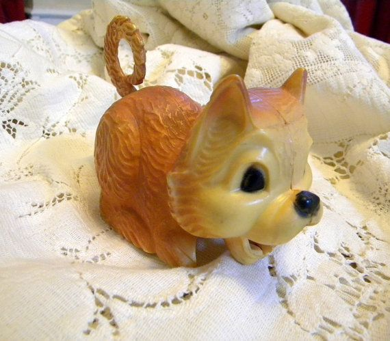 Old mechanical cat plastic toy midcentury by TreasuresFromTexas