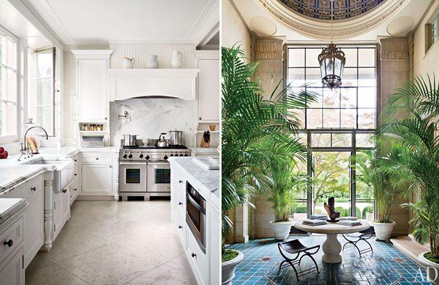 white kitchen, carrara marble, bridge faucet, apron sink