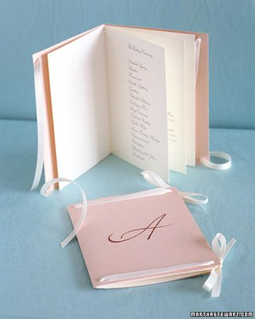 DIY Tutorial: Ribbon Binding Wedding Ceremony Programs -  from 25 Perfect Wedding Ceremony Programs. (link to tutorial)